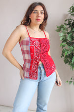 Patchwork Bandana Top in Red - M