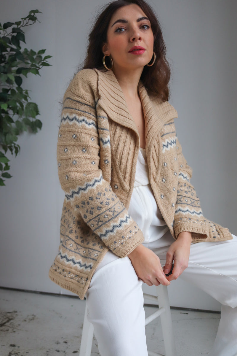 Liz ClaiborneFairisle Knit Cardigan in Beige - Dirty Disco