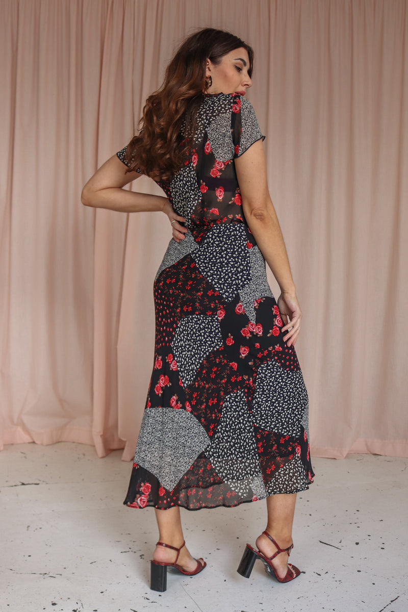 Two Piece in Floral Patchwork Print - UK 12