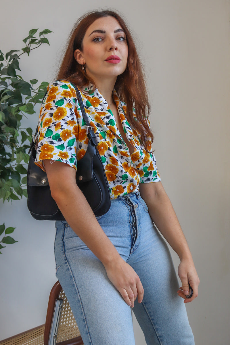 VintageShort Sleeve Blouse in Mustard Floral Print - Dirty Disco