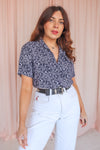 Short Sleeve Blouse in Navy Floral Print - UK 8