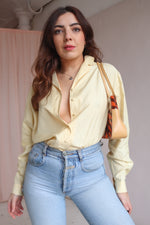 Silk Blouse in Lemon Yellow - L