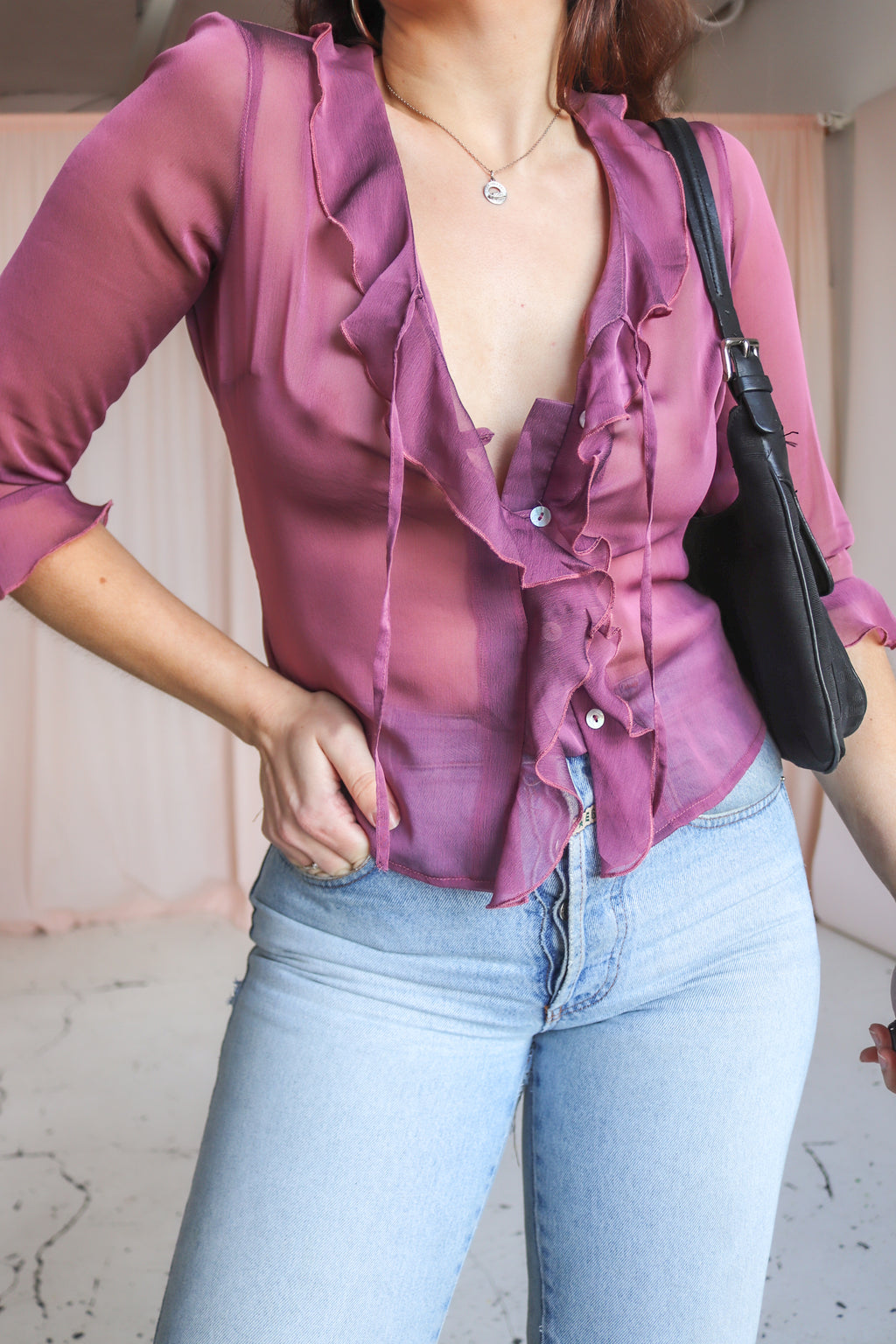 Ruffle Blouse in Plum - S