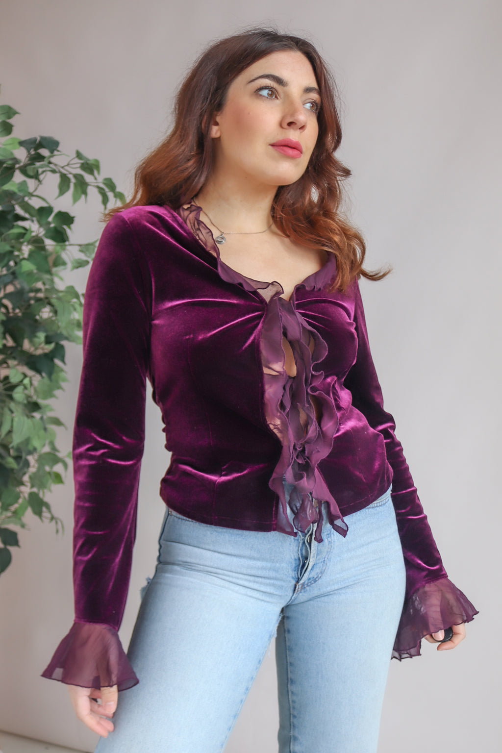 Tie Front Blouse in Purple Velvet - UK 10