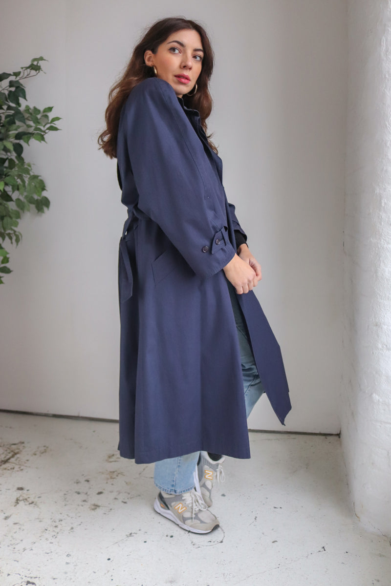 WallisTrench Coat in Indigo - S - Dirty Disco