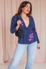 Wrap Blouse in Navy Floral Print