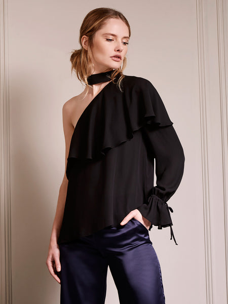 Ruffle One Sleeve Turtleneck