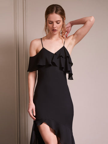 High Low Ruffle Midi