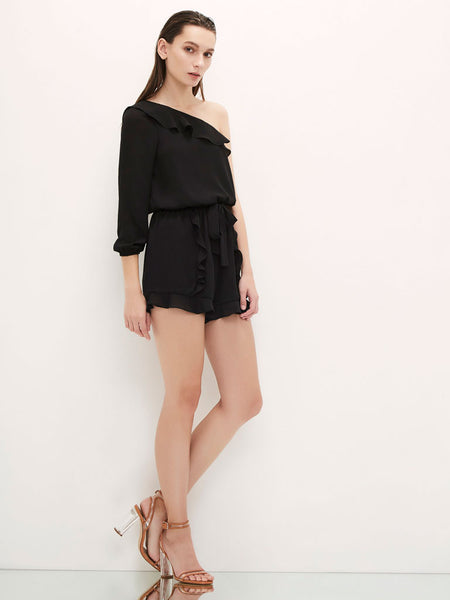 One Shoulder Ruffle Romper