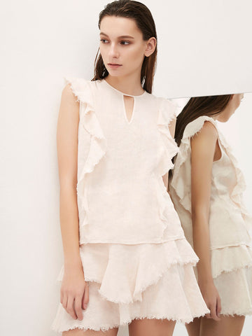 Raw Edge Ruffle Tank