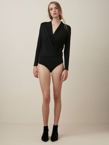 L/S Surplice Thong  Bodysuit