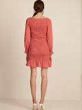 Bella Orange, Orange, Mini, Dress, Long Sleeve