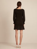 Black, Dress, Mini, Long Sleeve