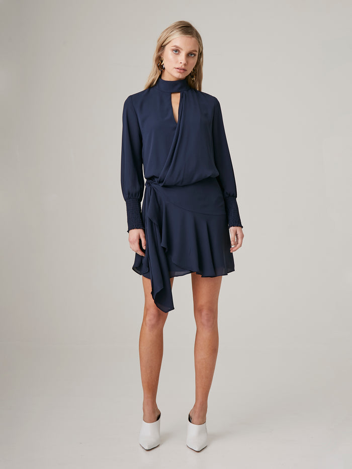 Drape Front Turtleneck Mini