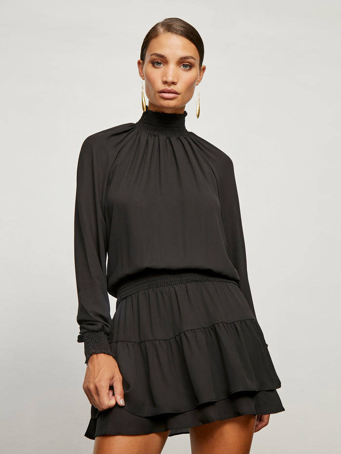 Turtleneck Ruffle Skirt Dress