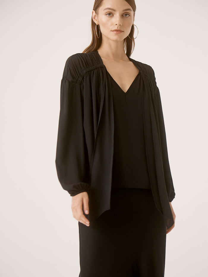 Ruched Tie L/S Blouse