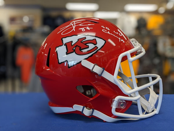 "Kansas City Chiefs Travis Kelce Autographed ""SB LIV Champs"" Inscribed Speed Replica Helmet JSA"