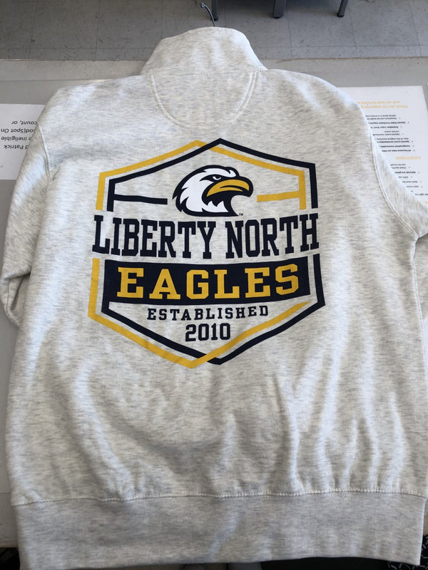 Liberty North Eagles 1/4 Zip Long Sleeve With Back Logo Crew Sweatshirt by Blue 84