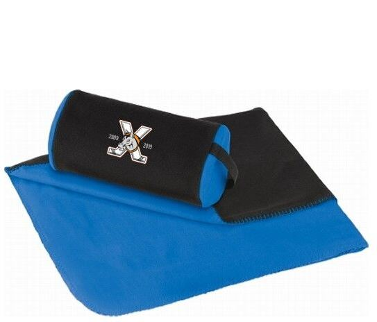Kansas City Mavericks Blue and Black Fleece Blanket