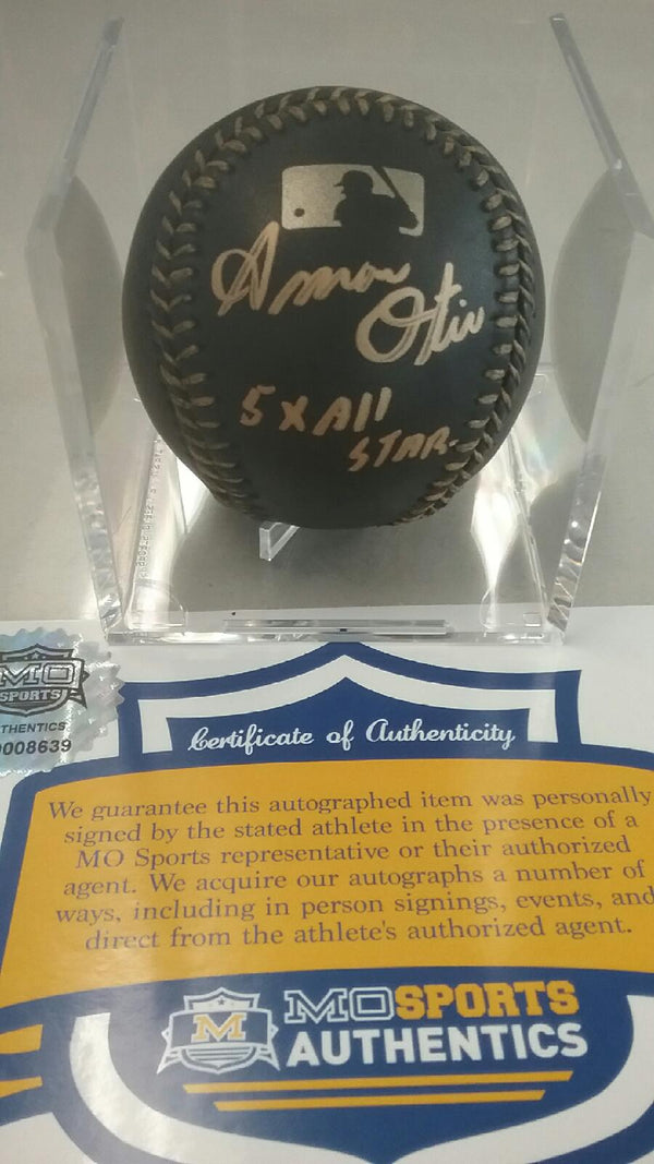 Kansas City Royals Amos Otis Signed Autographed Black OMLB Baseball COA