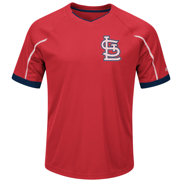 St. Louis Cardinals Red Emergence V Neck Performance T-Shirt by Majestic