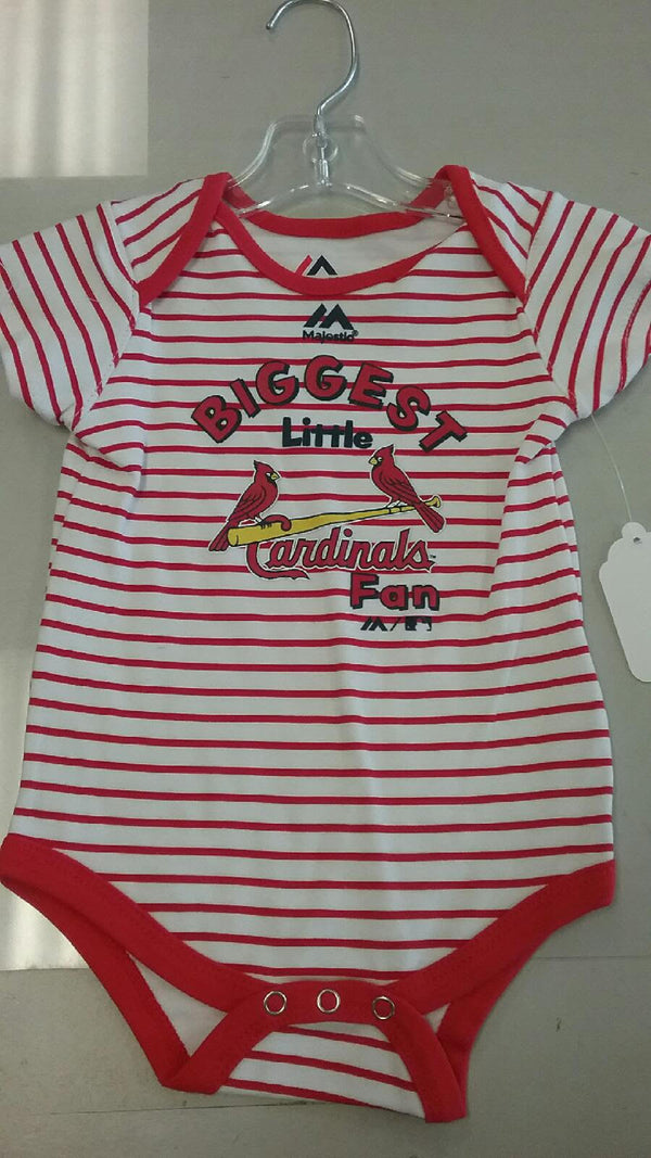 "St. Louis Cardinals Infant Striped ""Biggest Little Fan"" Onesie"