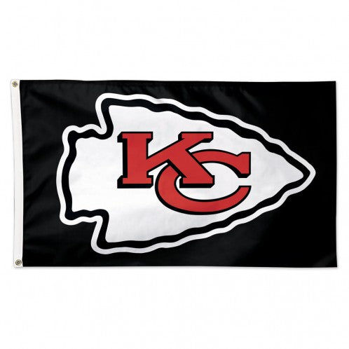 Kansas City Chiefs Black background Flag - Deluxe 3' X 5' by Wincraft