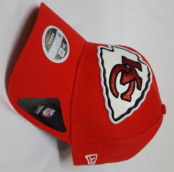 Kansas City Chiefs Ladies Glitter Glam Adjustable 9FORTY Hat by New Era