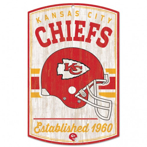 "Kansas City Chiefs / Classic Logo Retro Wood Sign 11"" x 17"""