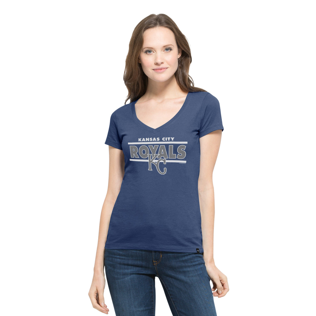 Kansas City Royals Ladies Clutch Flanker Foil V Neck T-Shirt by
