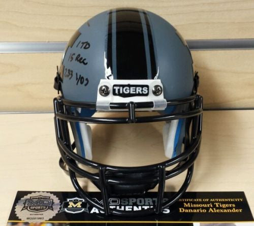 Missouri Tigers Beast Mode Mini Helmet Signed by Danario Alexander COA
