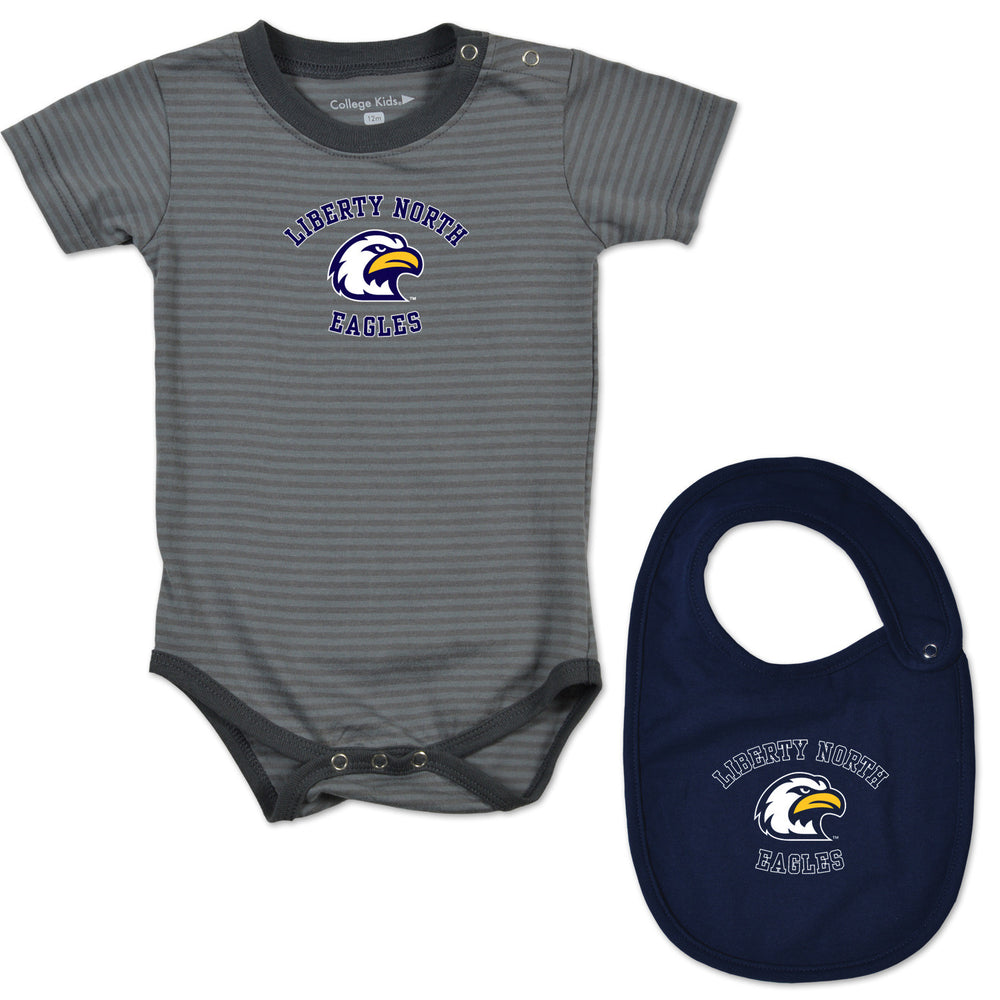 Liberty North Eagles Goo Goo Gray Stripe Onesie + Bib Combo