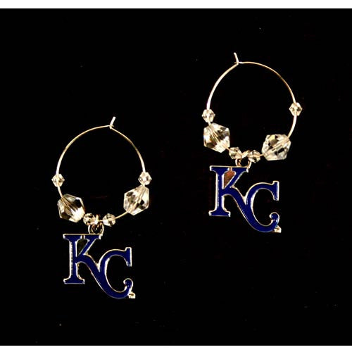 Kansas City Royals Earrings - Clear Bead HOOP Style Dangle Earrings