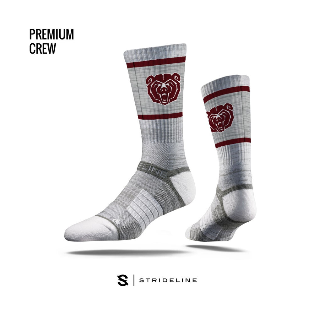 Missouri State University Logo Bears Athletic Crew Socks by Strideline