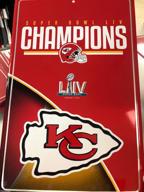 Kansas City Chiefs Super Bowl Champs Metal Sign