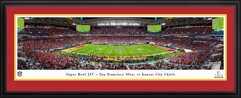 Framed SB LIV 49ers vs Chiefs Kickoff Panorama