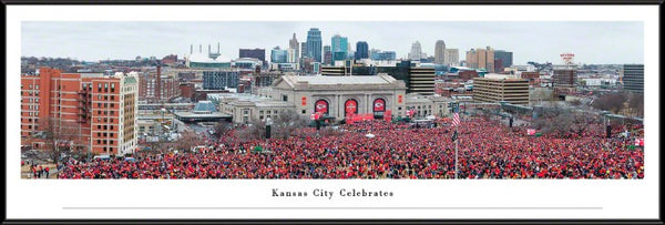 "Framed  Kansas City Chiefs Super Bowl Celebration Parade ""Sea of Red""Panorama"