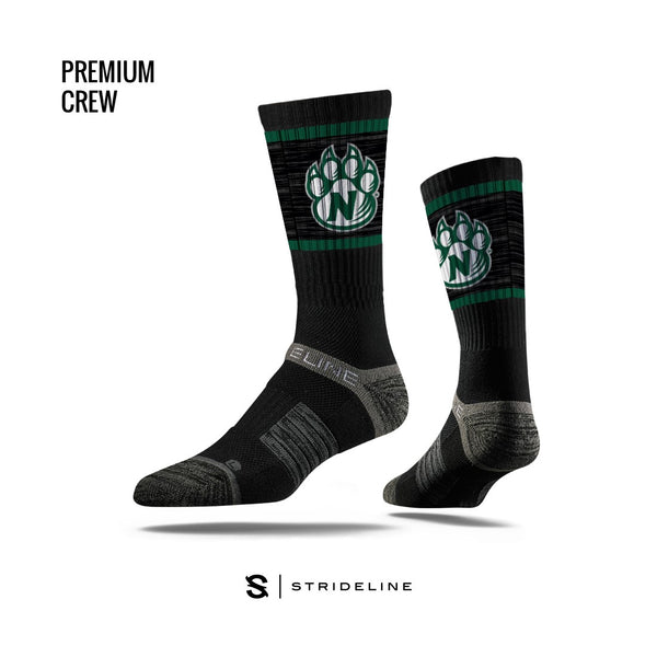 Northwest Missouri State Green Paw Logo Black Athletic Crew Socks by Strideline
