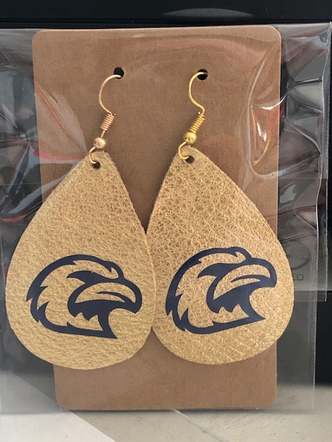 Eagles Gold Leather Earrings
