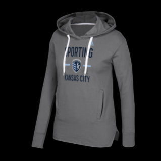 Sporting Kansas City Ladies Graphite New Fleece Pullover Hooded Sweatshirt by adidas