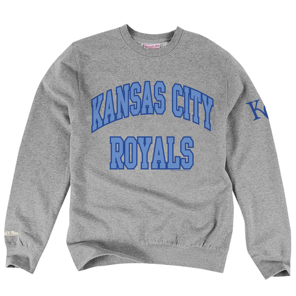 Kansas City Royals Gray Fleece Crew Sweatshirt by Mitchell & Ness