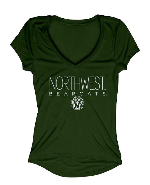 Northwest Missouri State Juniors Liquid High Low Foil T-Shirt by Blue 84-Green