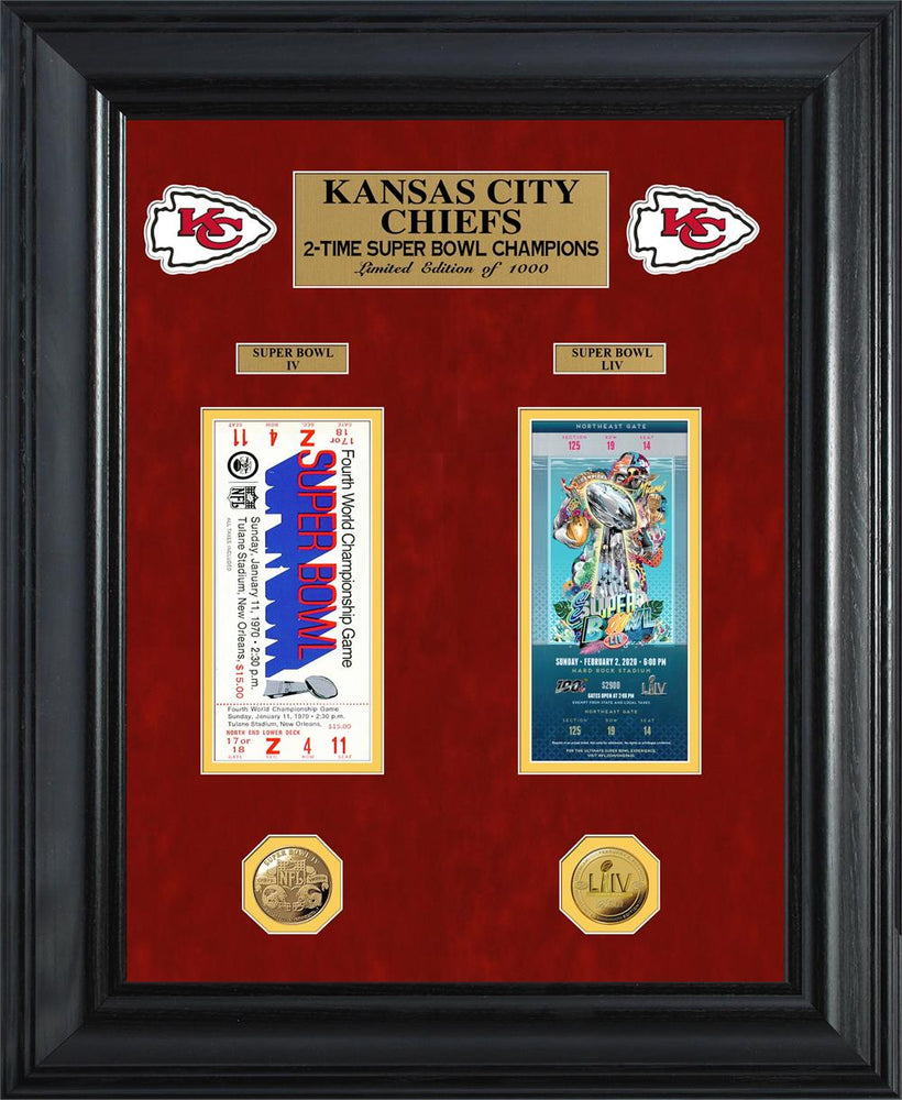 Kansas City Chiefs 2-Time Super Bowl Champions Deluxe Gold Coin & Ticket Collection