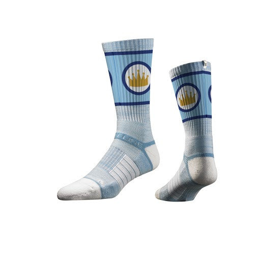 Kansas City Royals Youth Powder Blue Crown Athletic Crew Socks by Strideline