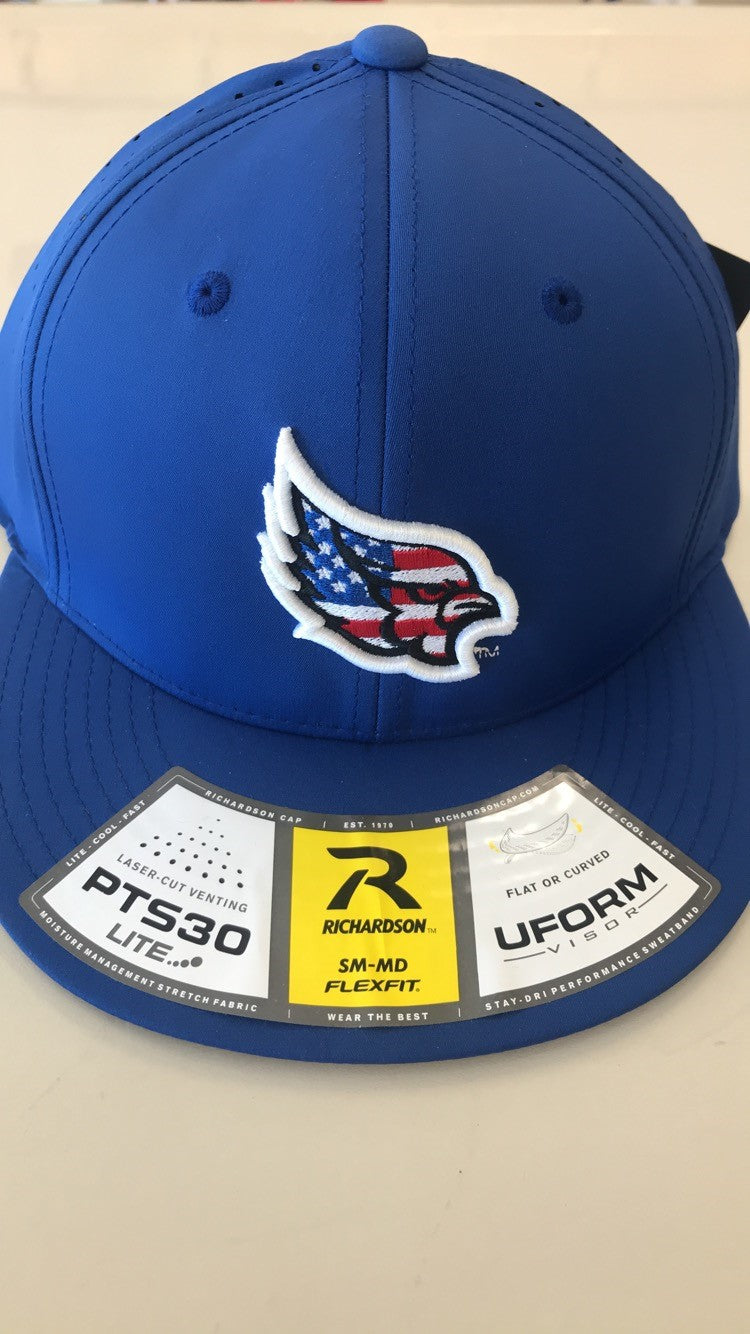 1cc81bf2ed7da7 Liberty Blue Jays PTS30 American Flag Logo Stretch Fit Hat by Richards