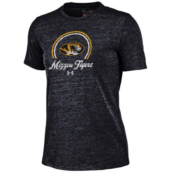 Missouri Tigers Ladies Black Retro Tri-Blend Crew T-Shirt by Under Armour