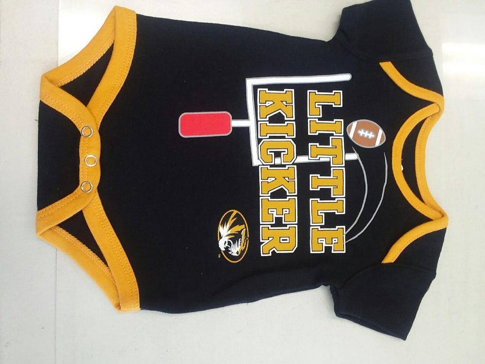 "Missouri Tigers ""Little Kicker"" Black Onesie Infant Sizes"