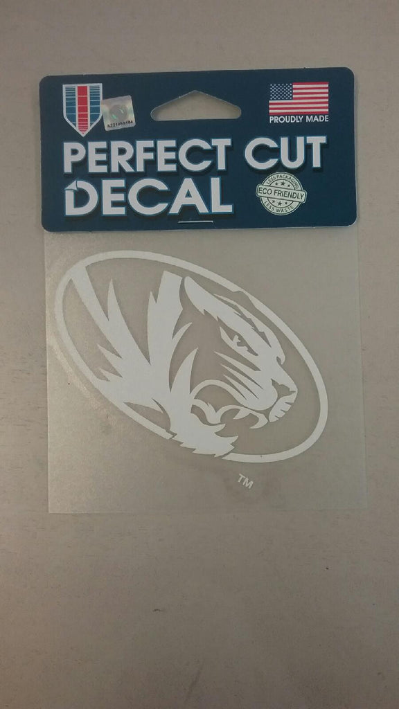 "Missouri Tigers 4""x4"" White Oval Tiger Perfect Cut Decal by Wincraft"