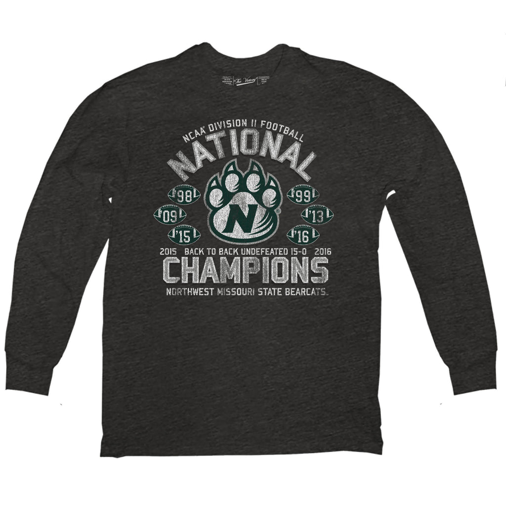 Northwest Missouri State 2016 National Champions 6-Time Champs L/S Black Tee