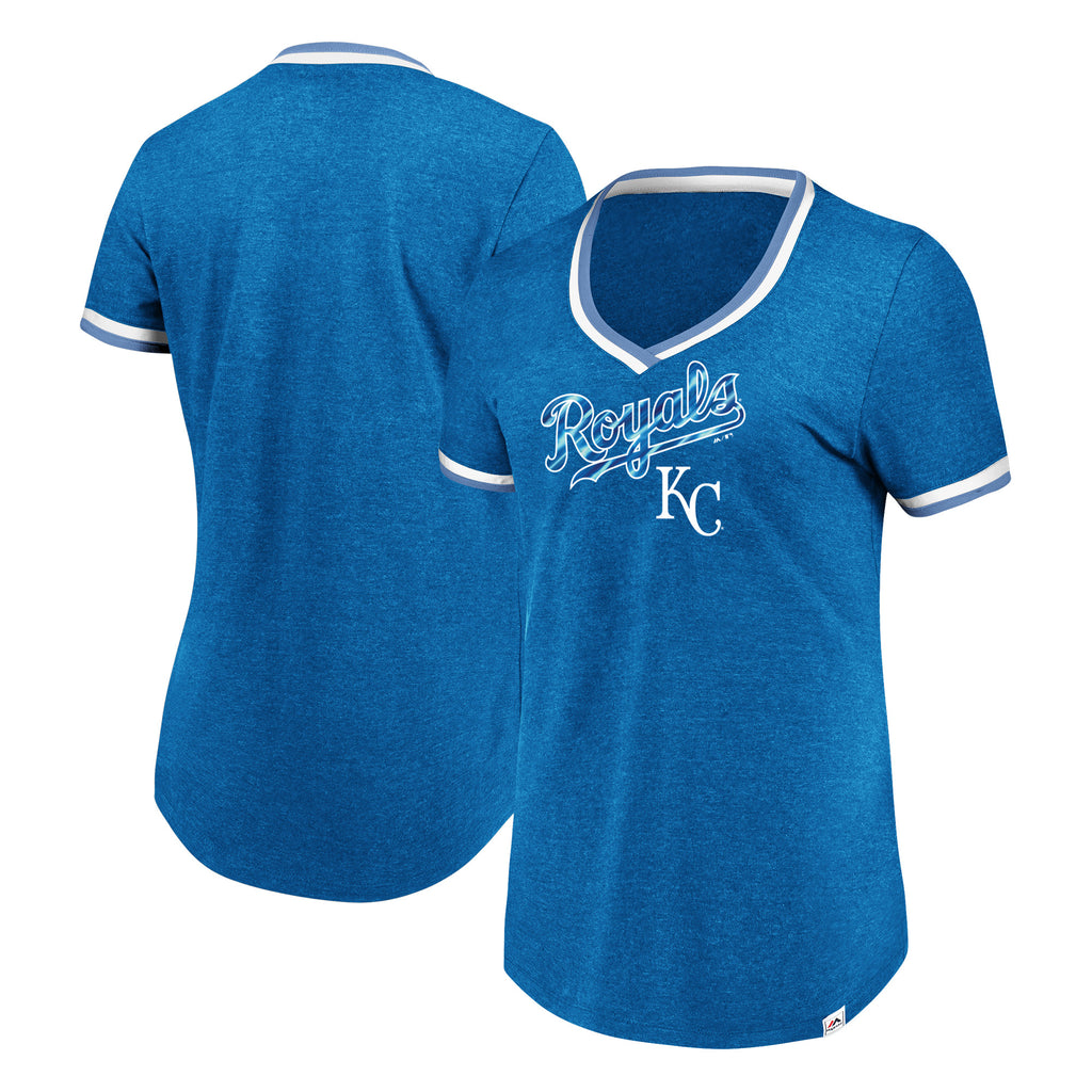Kansas City Royals Ladies Driven By Results V Neck Fashion T-Shirt by Majestic